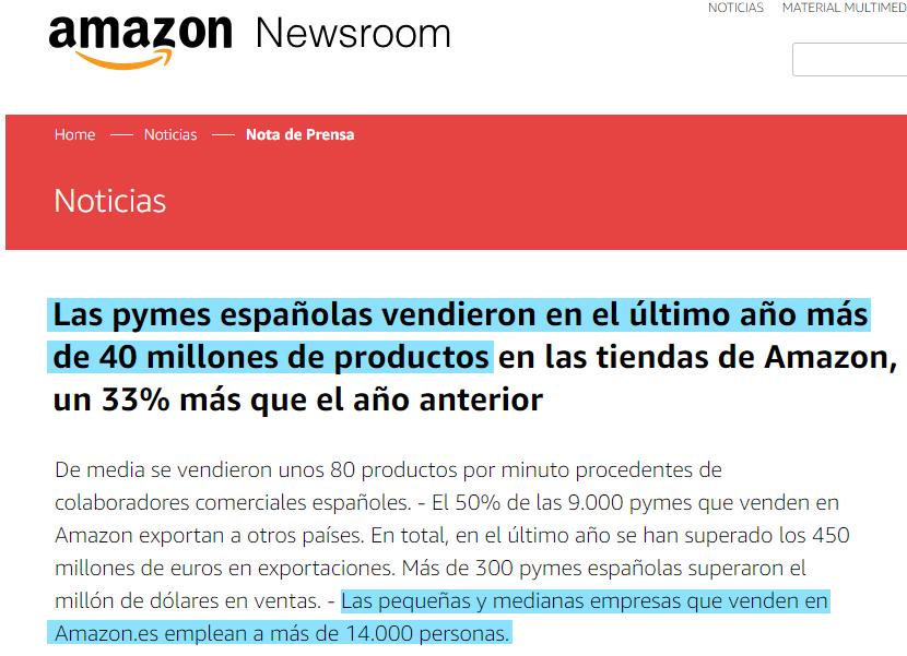 """NOTICIA """"Las pymes españolas vendieron en el último año más de 40 millones de productos en Amazon"""""""